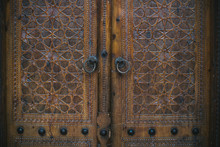 Beautiful Ornate Wooden Door Of Uzbek Mosque