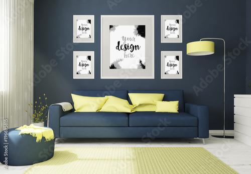 5 framed mockups in 3d living room rendering buy this stock