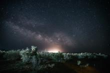 Milky Way Above Uzbek Desert Landscape