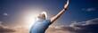 Leinwandbild Motiv Composite image of happy man raising his arms up