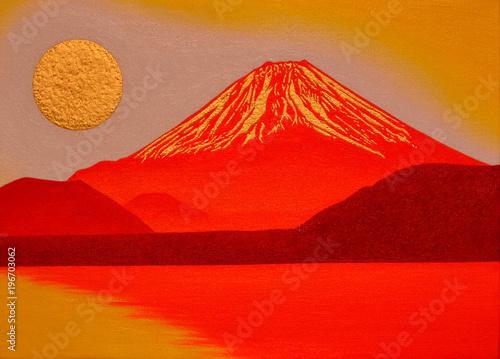 Foto op Aluminium Rood 本栖湖からの金の太陽の日の出赤富士