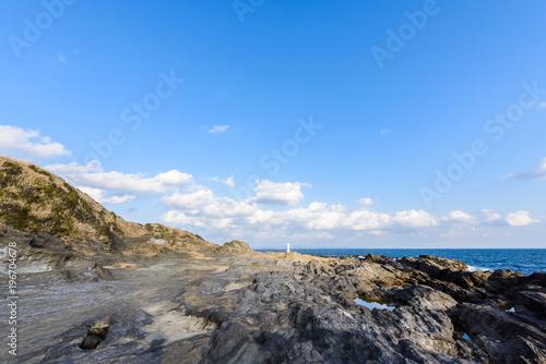Deurstickers Kust 城ヶ島の岩場 Rugged coast
