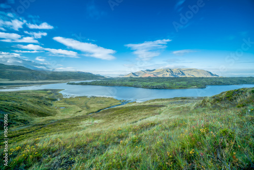 Staande foto Olijf Landscape photography of a mountain in Iceland having smooth running river in foreground with green autumn grass meadow