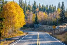 Highway At Autumn In Colorado,...