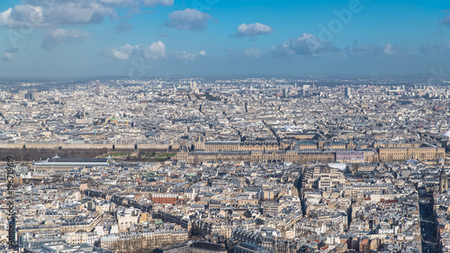 Staande foto Parijs Paris, panorama, aerial view, the Louvre museum and Tuileries garden, and Sacre-Choeur church in background
