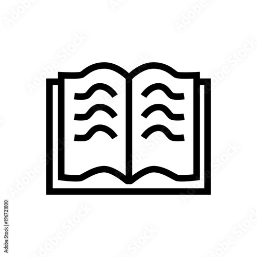 open book outlined vector icon  Outlined symbol of open