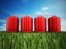 Agriculture Grain Silos On Grass Under Blue Sky. 3D Illustration