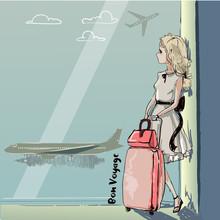 Cute Cartoon Girl In Airport