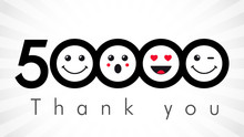 Thank You 50000 Followers Numbers. Congratulating Black And White Networking Thanks, Net Friends Image In Two 2 Colors, Customers 50 000 Likes, % Percent Off Discount. Round Isolated Smiling People