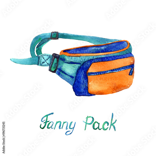 Fotografía  Fanny (Belt) Pack type of bag in blue, orange and turquoise colors palette, hand