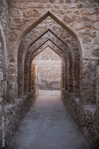 Arabic archways in an ancient fort.