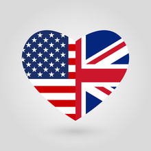 US And UK Flags Icon In The He...