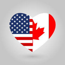 US And Canada Flags Icon In Th...