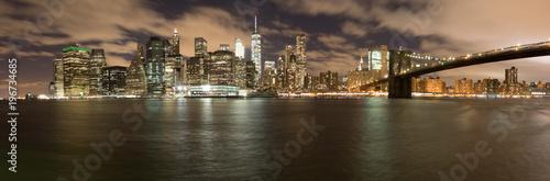 Fototapety, obrazy: Manhatten bei Nacht Panorama