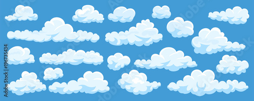 Obraz Set of cartoon clouds - fototapety do salonu
