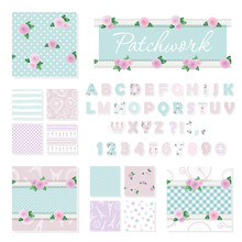 Patchwork Girly Decorative Elements Big Set. Shabby Chic Textile Font And Seamless Pattern Collection. Different Fabric Pieces Collage, Decorated With Lace And Roses. Vector