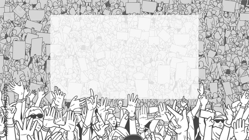 Photo Illustration of detailed crowd protest demonstration with large blank banner