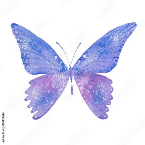 Türaufkleber Wasser watercolor blue butterfly