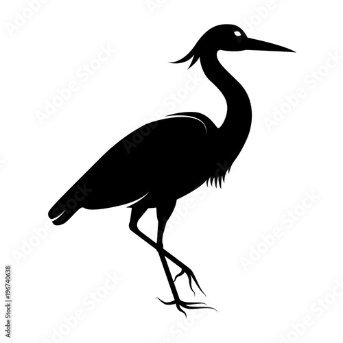 vector image of the silhouette of the birds of the heron buy this