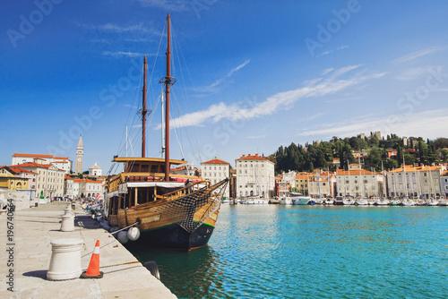 City on the water Beautiful view of Piran town, Slovenia. Famous Slovenian tourist destination
