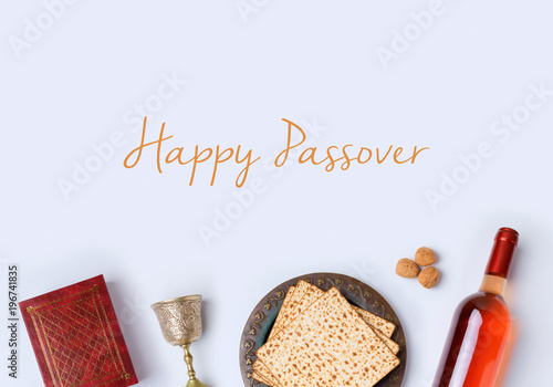 Jewish holiday Passover frame composition