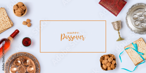 Jewish holiday Passover banner design Canvas Print