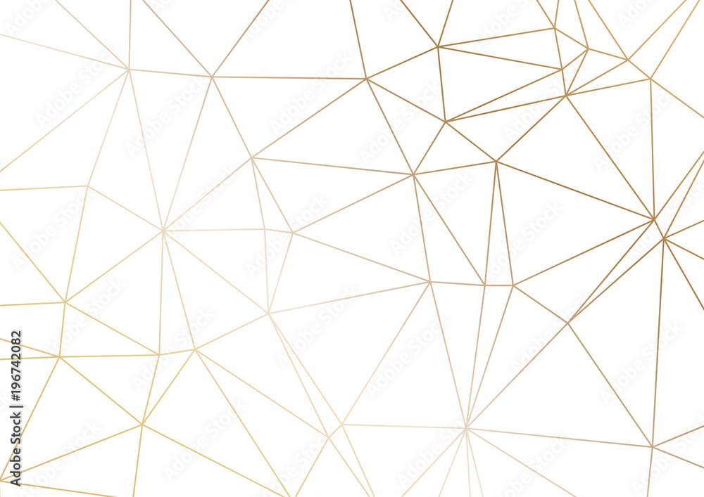 Fototapeta Gold polygonal texture. Vector cover design for wedding invintation, placards, banners, flyers, presentations and business cards