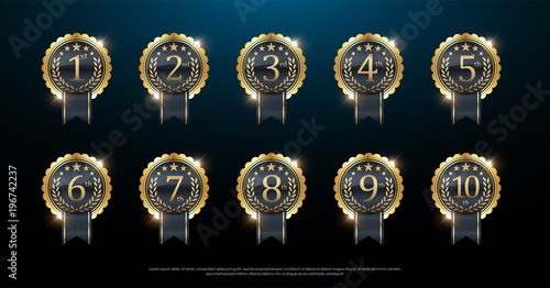 Obraz Award golden label of First, second and third winner. 1st, 2nd, 3rd, 4th, 5th, 6th, 7th, 8th, 9th, 10th. Vector illustration - fototapety do salonu