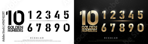 Fototapeta Technology alphabet golden numbers metallic and effect designs for logo, Poster