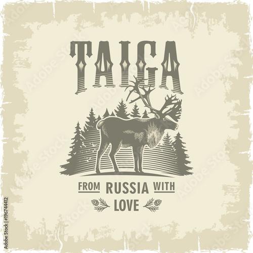 Fototapeta Тайга, Северный Олень на фоне елей, Россия, любовь, винтаж, сепия, иллюстрация, вектор obraz na płótnie