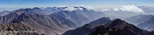 Montage in der Fensternische Gebirge Panorama of Toubkal and other highest mountain peaks of High Atlas mountains in Toubkal national park, Morocco, North Africa