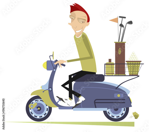 Smiling man on the scooter is on the way to the golf course isolated on white illustration