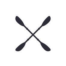 Kayak Paddles On White, Vector