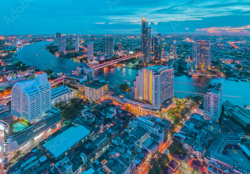Bangkok night cityscape with modern buildings Poster
