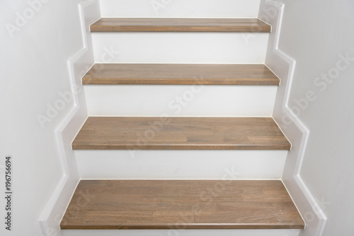 Aluminium Prints Stairs wooden staircase interior decoration