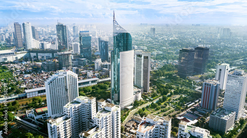 Aerial photo of iconic BNI 46 Tower Jakarta Indonesia
