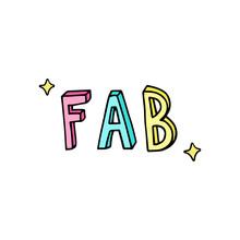 FAB, Fabulous Text, Doodle Vec...