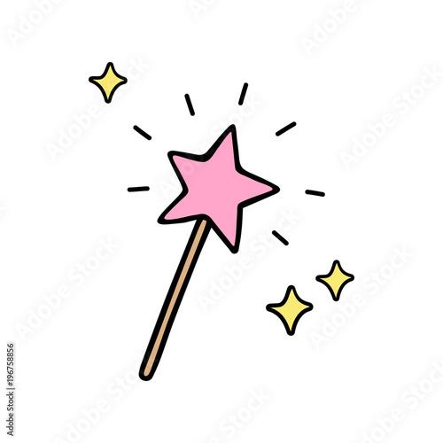 Obraz na plátně Pink star shaped magic wand with shiny sparkles
