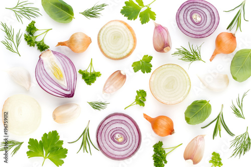 Fotografia Onion and spices isolated on white background, top view