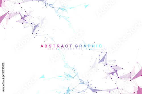 Photo sur Toile Oiseaux sur arbre Geometric abstract vector with connected line and dots. Global network connection background. Technological sense abstract illustration.