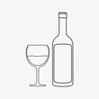 Wine bottle & glass flat black outline design icon