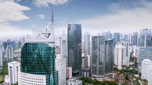Canvas Prints Kuala Lumpur Jakarta downtown cityscape with the iconic BNI46 tower and city skyscrapers in the background