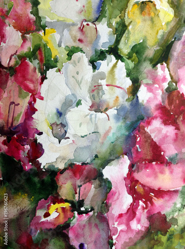 Watercolor Art Background Floral Exotic Spring Flowers