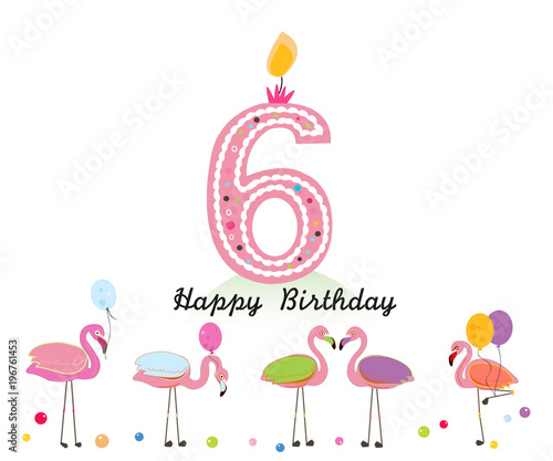 Six Candle Happy Sixth Birthday Letter Exotic Birds Set Of Different Poses