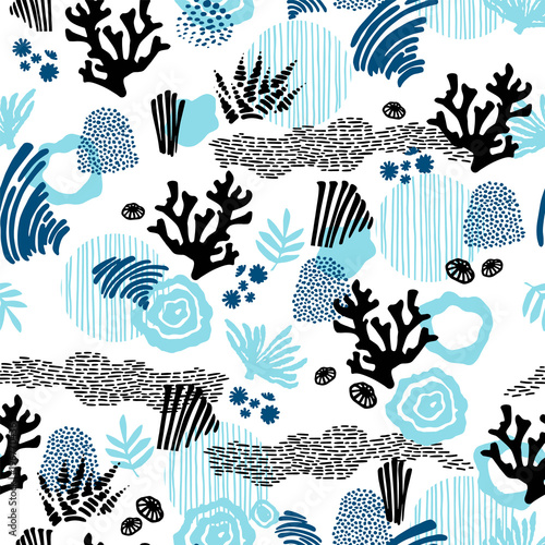 Cotton fabric Vector sea seamless pattern with hand drawn textures.