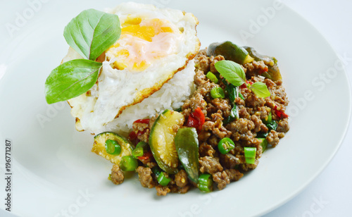 Stir Fried Basil with Pork and Fried egg is Thai street food Pad kra pao is one of Thailand's most beloved street food