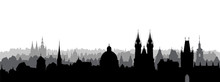Prague City, Czech. Skyline View. Cityscape With Cathedral Landmark Building.