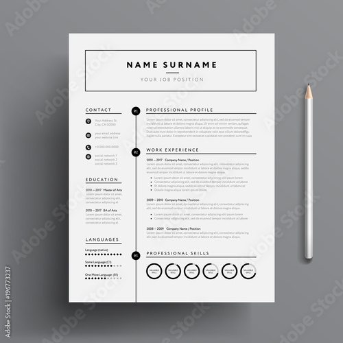 Stylish CV / Resume template - black and white minimalist design ...