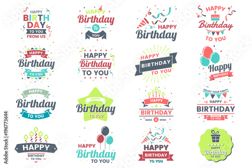Happy Birthday Vector Logo for banner Wallpaper Mural