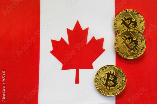 Spoed Foto op Canvas Canada Bitcoin Gold Color on the Flag of Canada. Cryptocurrency on Background of Canadian Flag